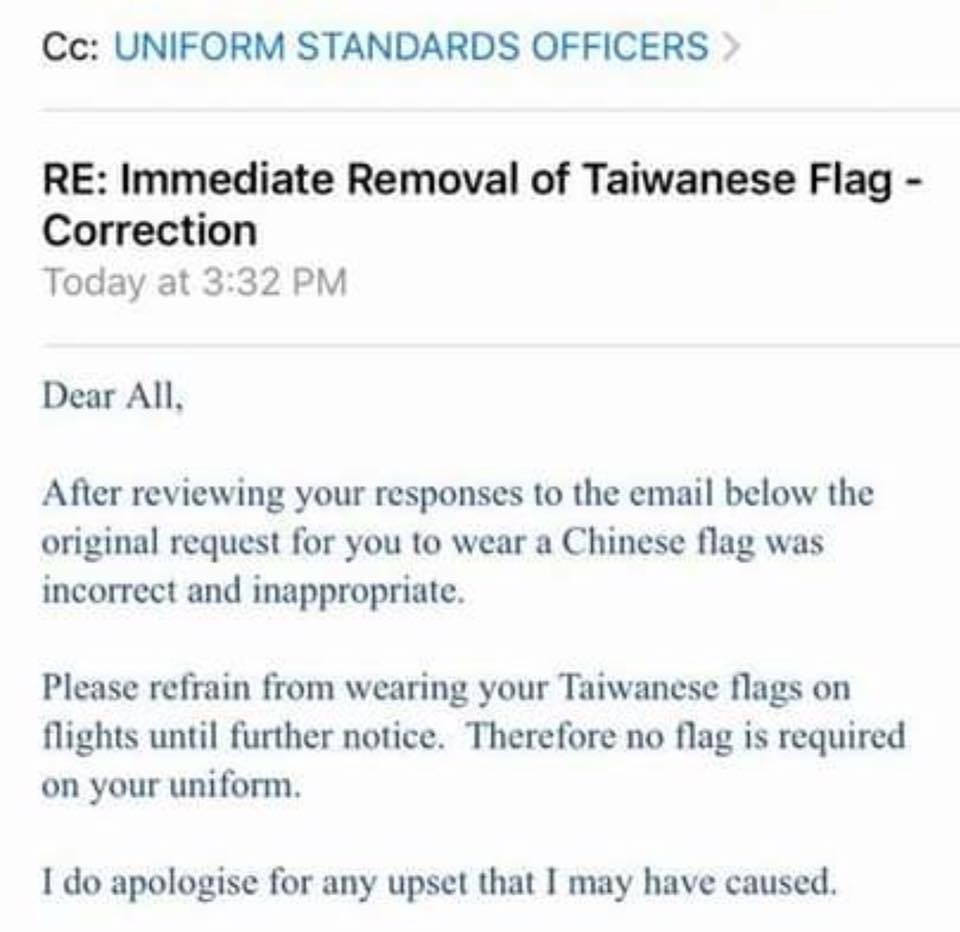 Outrage as Emirates tells cabin crew to remove Taiwan flag