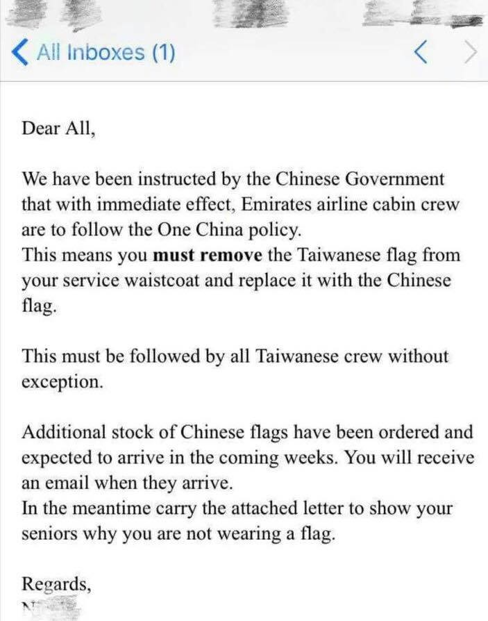 Taiwan backlash over Emirates flag ban