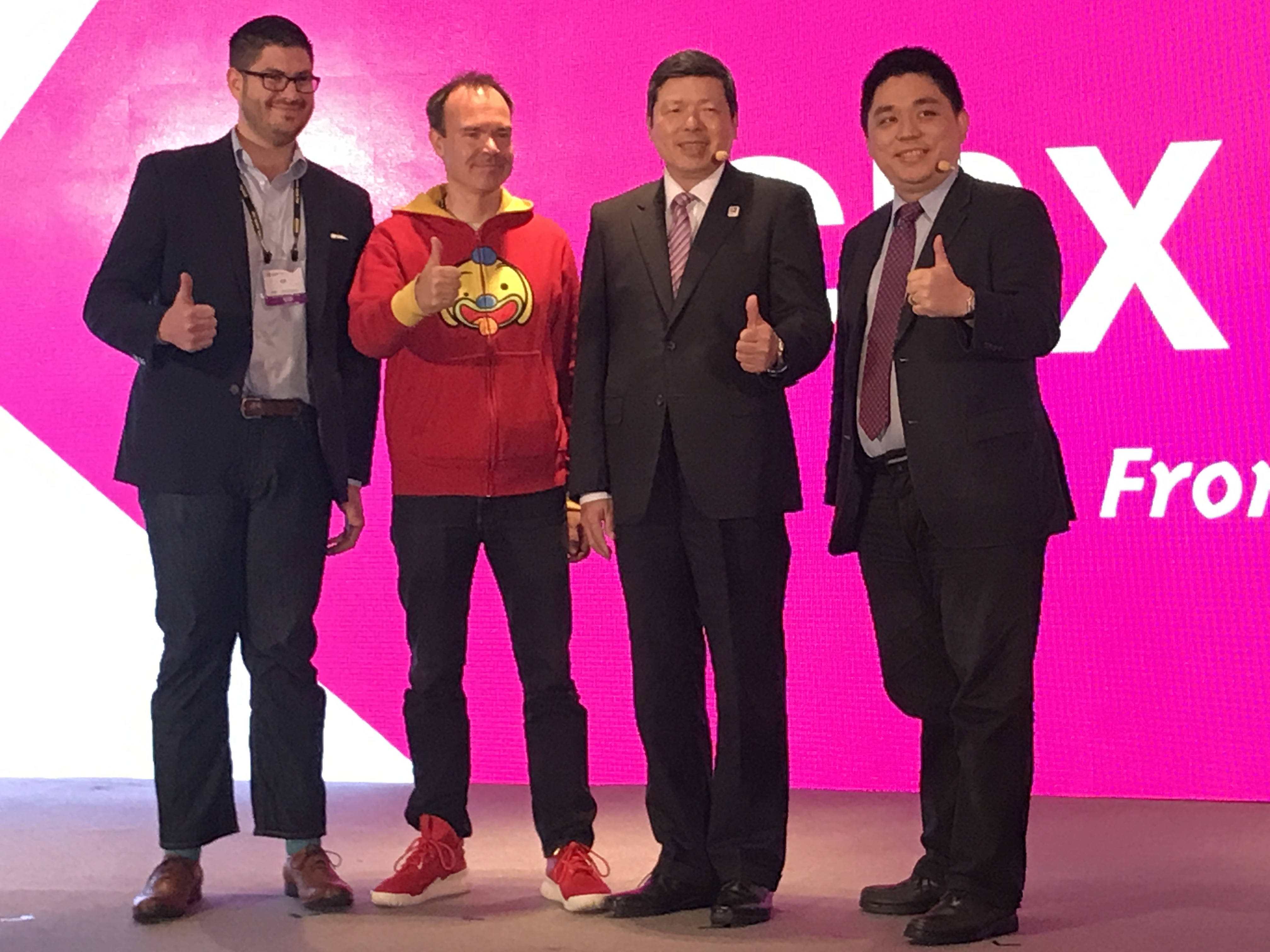 David Kuo, co-founder of iiiNNO (first right), TAITRA President and CEO Walter Yeh (second right) and other speakers at a Computex forum.