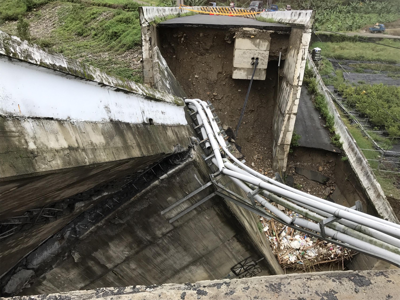 Aicun Bridge in Nantou County destroyed by heavy rains.
