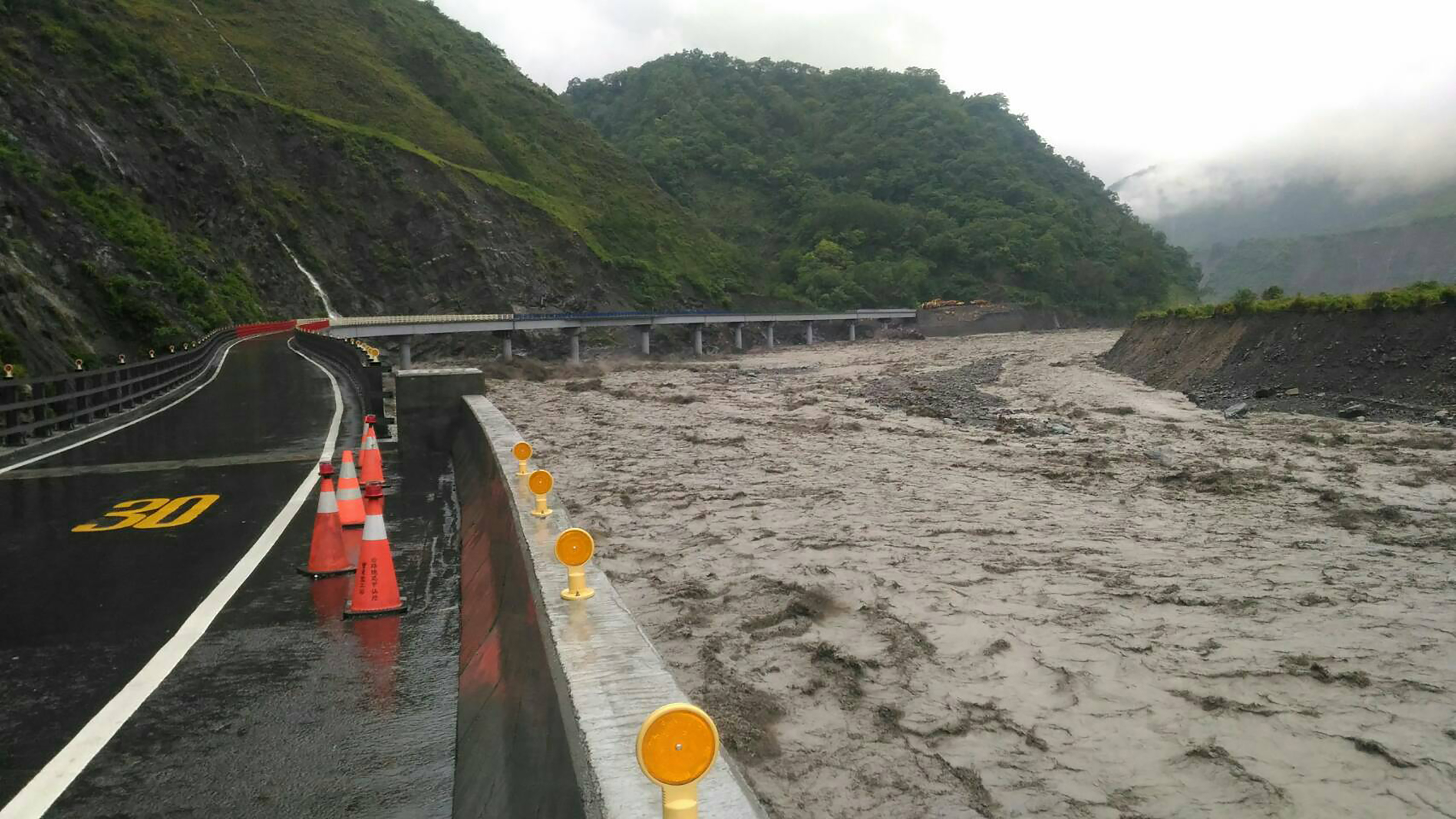 Taoyuan District in Kaohsiung City witnessed 500 millimeter of rainfall within 24 hours over the last three days.