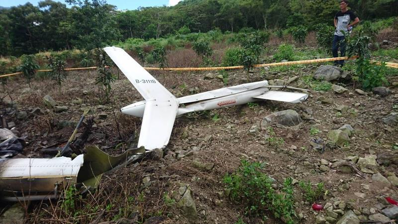 The wreckage of Chi's helicopter (photo courtesy of Hualien Fire Department).