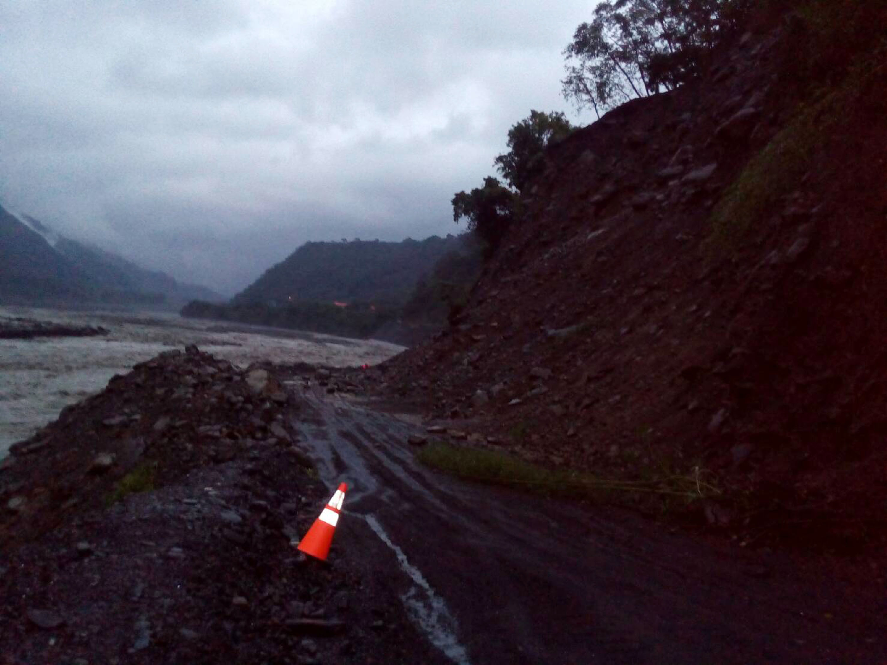 Road in Taoyuan, Kaohsiung City, interrupted by landslides.
