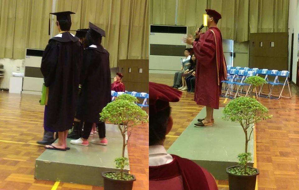 e0a867fc5bb07 NTNU graduates wearing flipflops (from Shin-Cheng Yeh Facebook page).