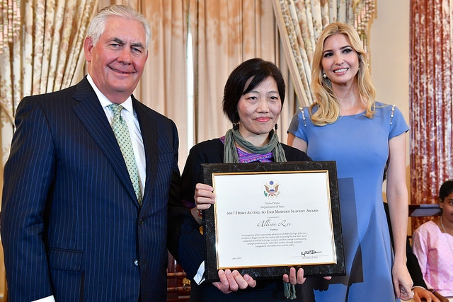 Allison Lee (center) with Secretary of State Rex Tillerson (left) and Ivanka Trump (right). Photo: State Department.
