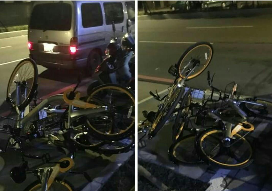 oBikes haphazardly strewn in scooter parking. (社團爆料公社)