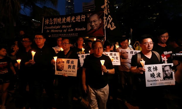 Worldwide memorials held including in Hong Kong to remember Liu Xiaobo