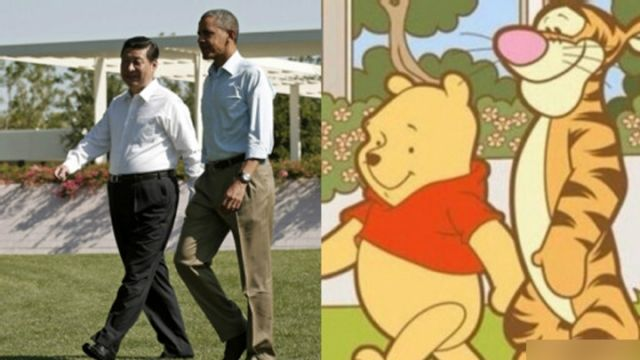 Chinese netizens jokingly compared Xi and Obama to Pooh and Tigger in 2013. (Weibo image)