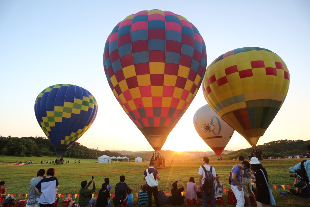 Hot air balloons are pictured lifting off from Qingqing Grasslands in Hsinchu.