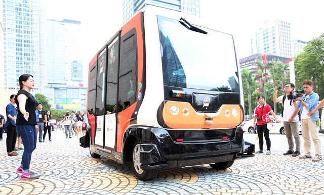 The EZ10 driverless bus is scheduled for street trials Aug. 1-5 in Taipei.