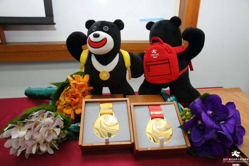 Medals and associated items that will be presented to medal winners at the 2017 Summer Universiade are on display July 31 in Taipei City. (Courtesy of...