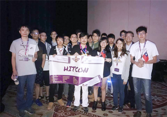 Members of Taiwan's Hitcon are all smiles after finishing second at Defcon CTF July 30 in Las Vegas. (Courtesy of Trend Micro Inc.)