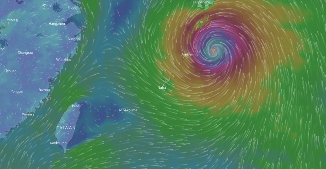 Typhoon Noru current position. (Map from Windy.com)