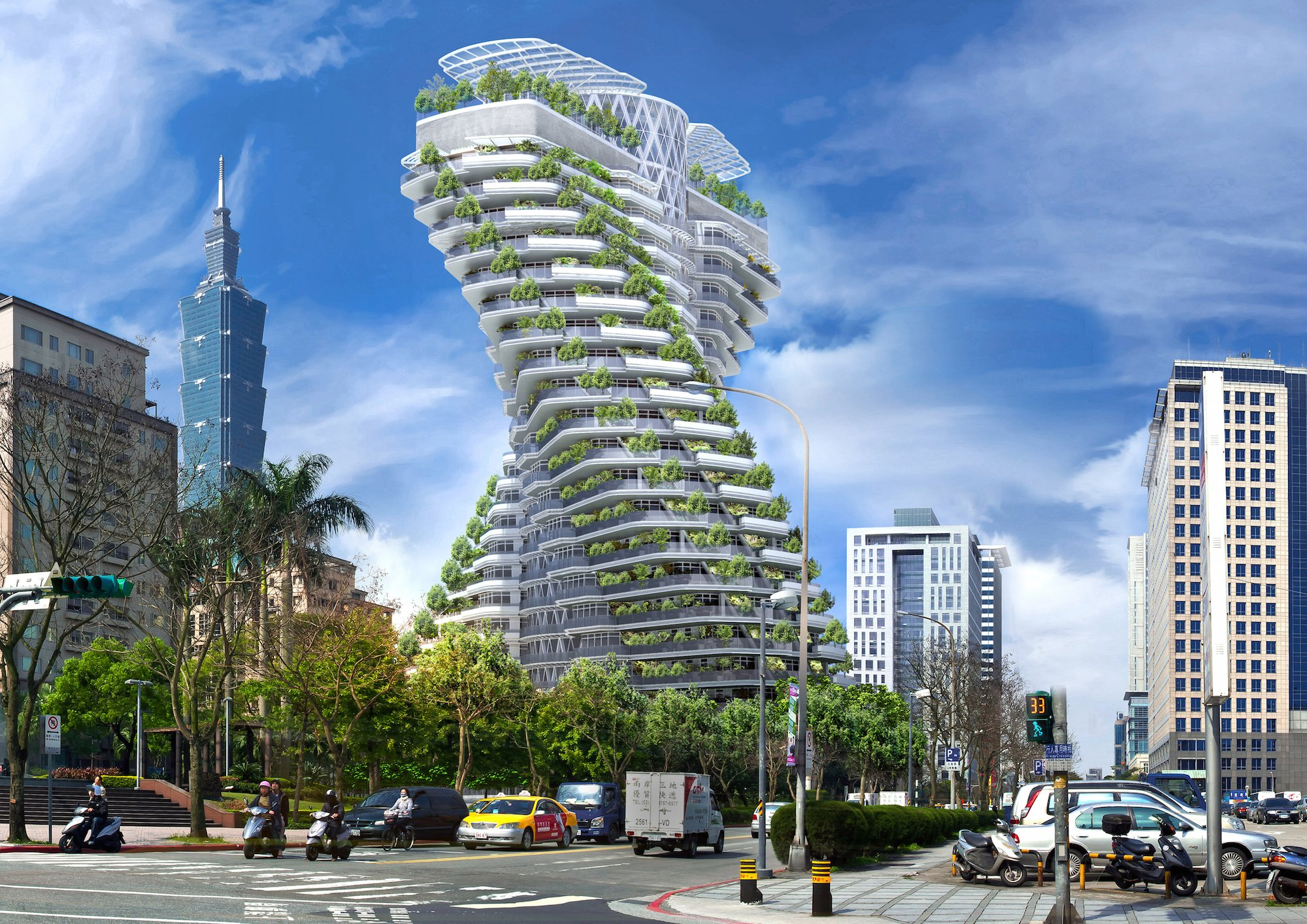 Smog-eating tower featuring luxury apartments in Taipei opening soon