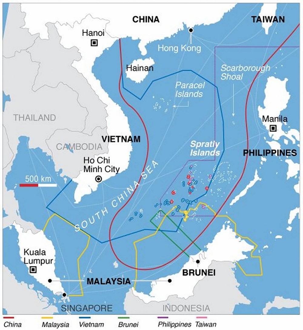 Various countries' claims on the South China Sea. (Flickr/deedavee)