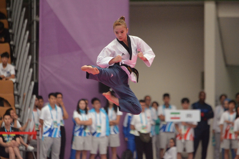 Lin Kan-yu executing jump-flying sidekick.
