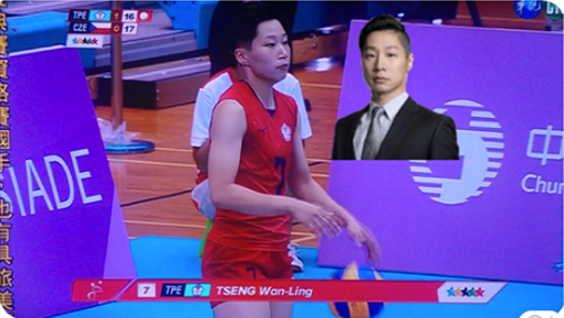 Photo comparing Taiwanese female volleyball player and Freddy Lim. (Freddy Lim Facebook).