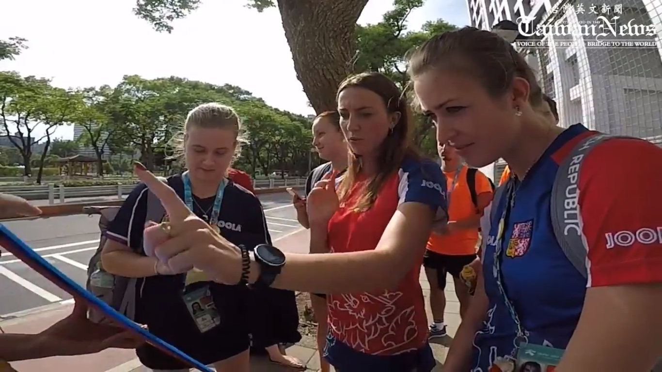 Athletes from Czech Republic were interviewed in Taipei outside the Universiade athletes' village.