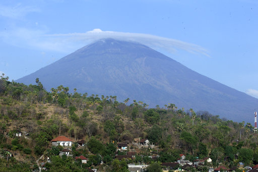 Mount Agung volcano is seen in Amed, Bali, Indonesia.