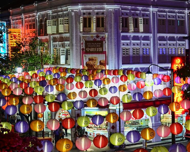 新加坡中國城在中秋節時的街景一覽。(圖片來源:flickr/ William Cho)