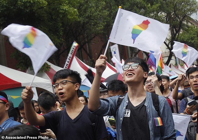 Gay rights marchers in 2016.