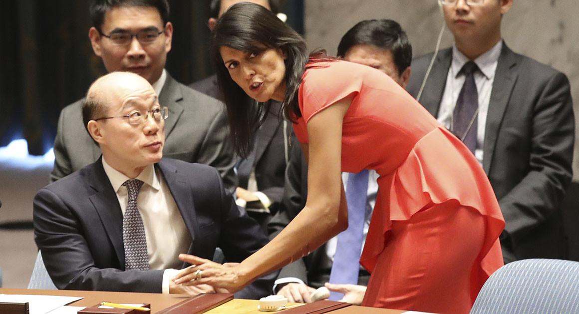 Liu Jieyi at the U.N. with U.S. ambassador Nikki Haley.