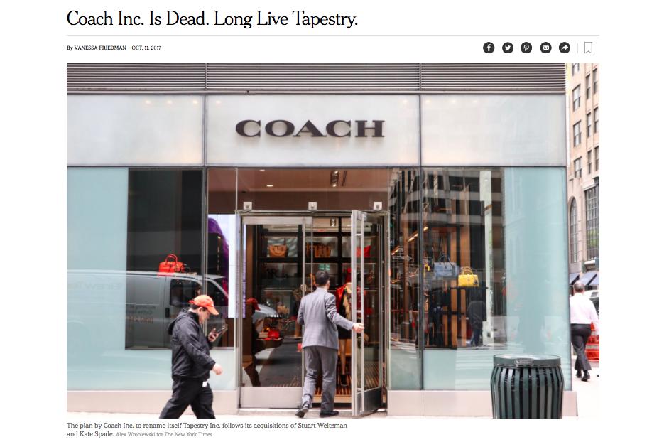 紐約時報以「Coach已死」為標題報導這起精品品牌更名案(圖片翻攝自紐時網站)