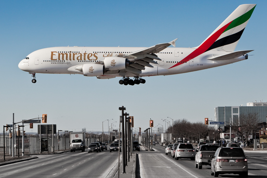 Emirates Airbus a380. (Image by flickr user Rafal Kiermacz)