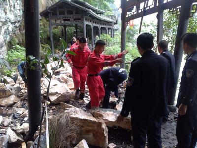 The scene of the landslide in Hubei.