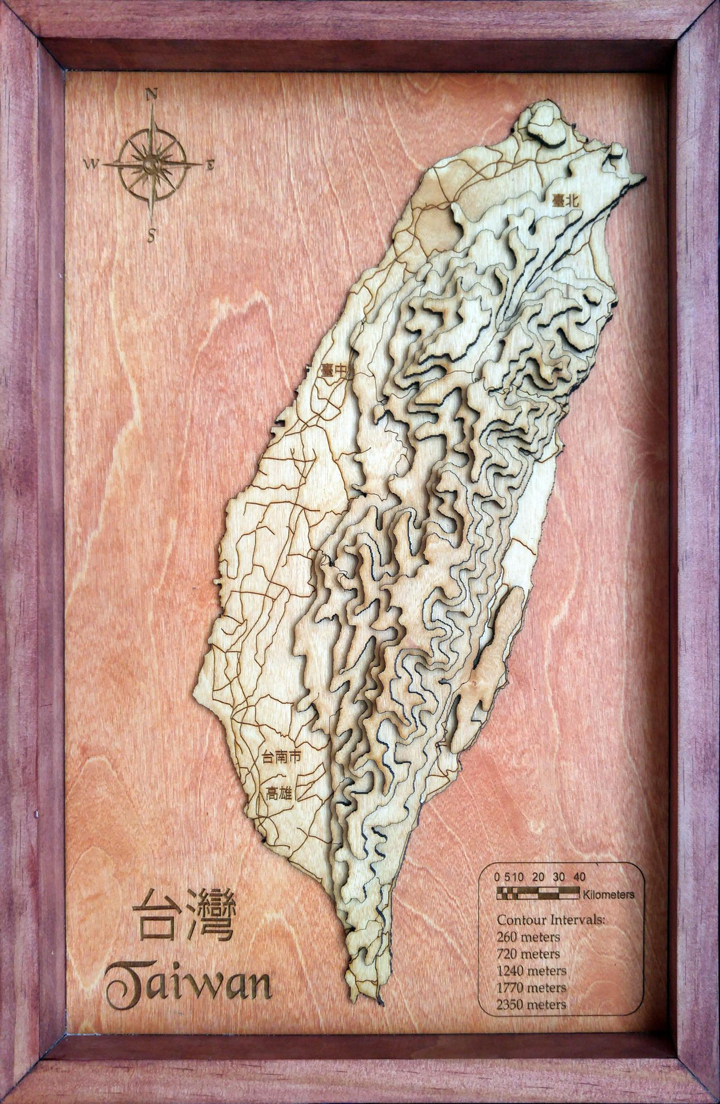 Photo Of The Day 3d Topographic Wood Map Of Taiwan News