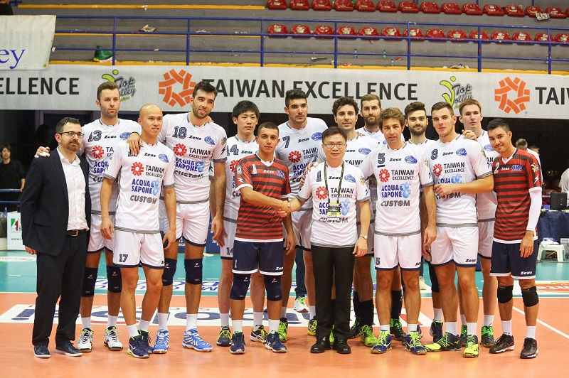 """TAITRA held a press conference on Monday in Italy after the Italian professional team it sponsors finished the first match under the new title--""""Taiwa..."""