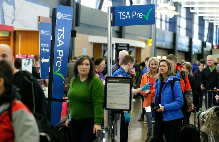 Passengers at a U.S. airport.