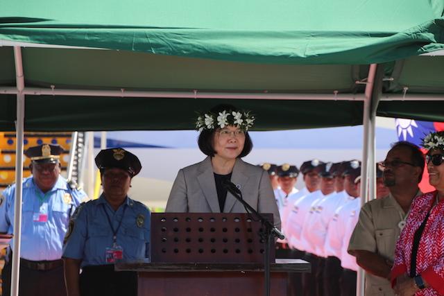 蔡英文總統於歡迎儀式致詞。(鄧佩儒攝/台灣英文新聞)