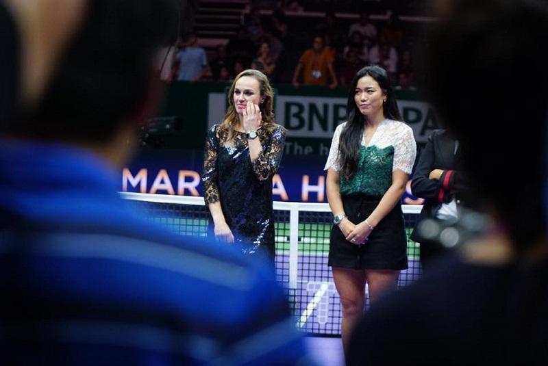 Taiwanese tennis star Chan Yung-jen said it's hard to say goodbye to Martina Hingis, this perfect partner. (Photo from Latisha Chan's Facebook post)
