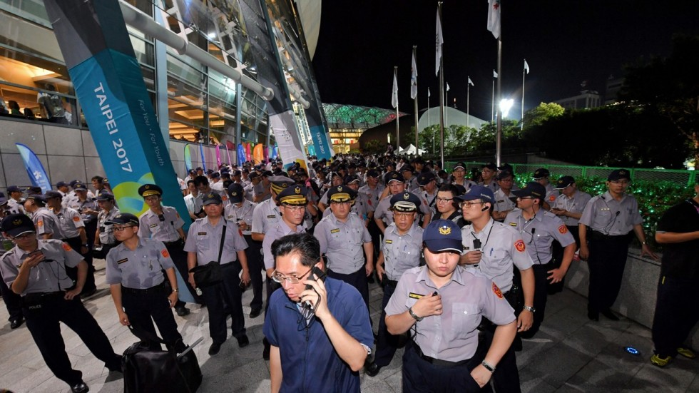 Police presence outside the Universiade opening ceremony Aug.19.