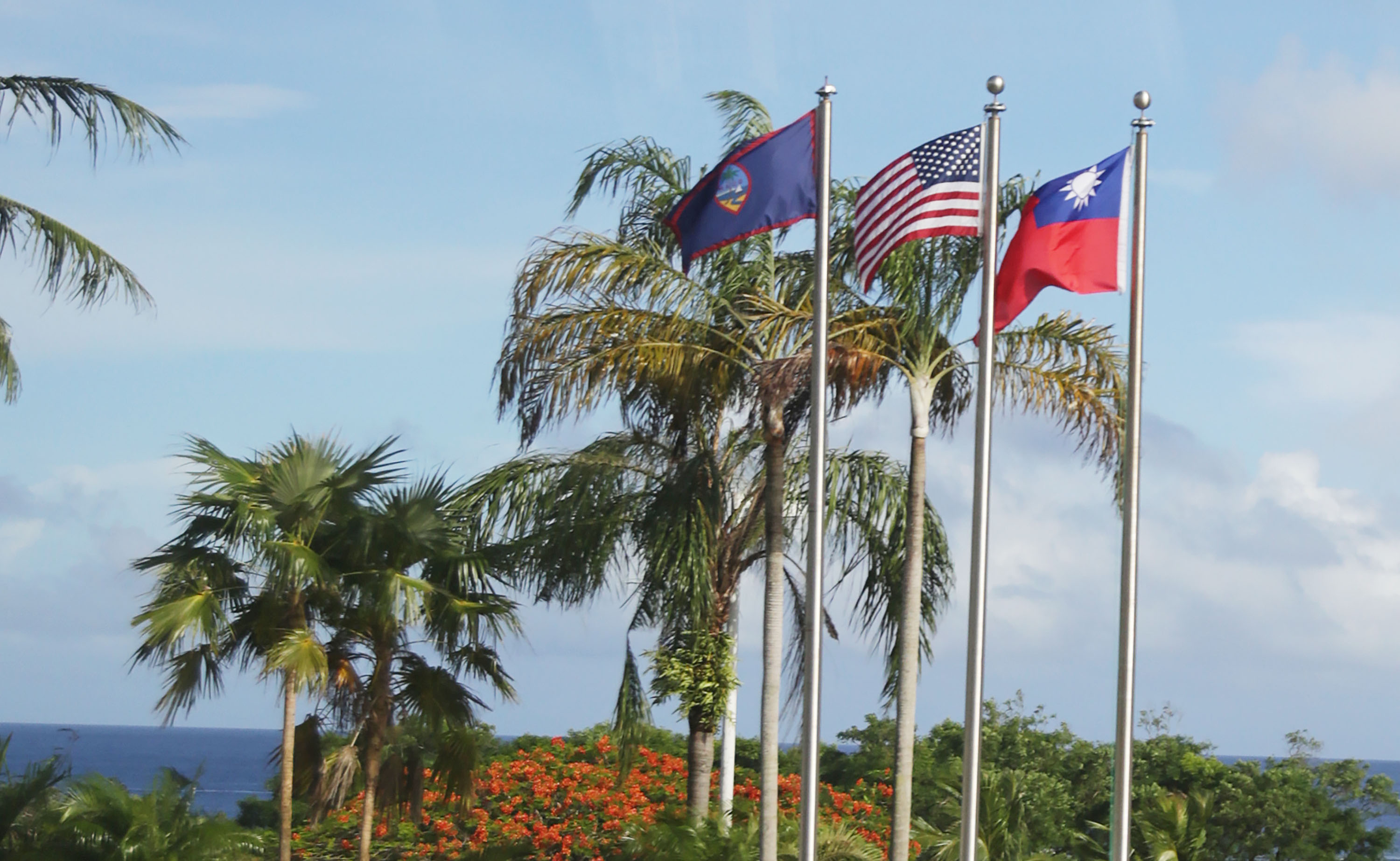 The Taiwanese flag (right) flying aside the flags of Guam and the U.S.