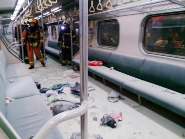 The scene on the train shortly after the July 7, 2016 bombing (photo courtesy of the TRA).