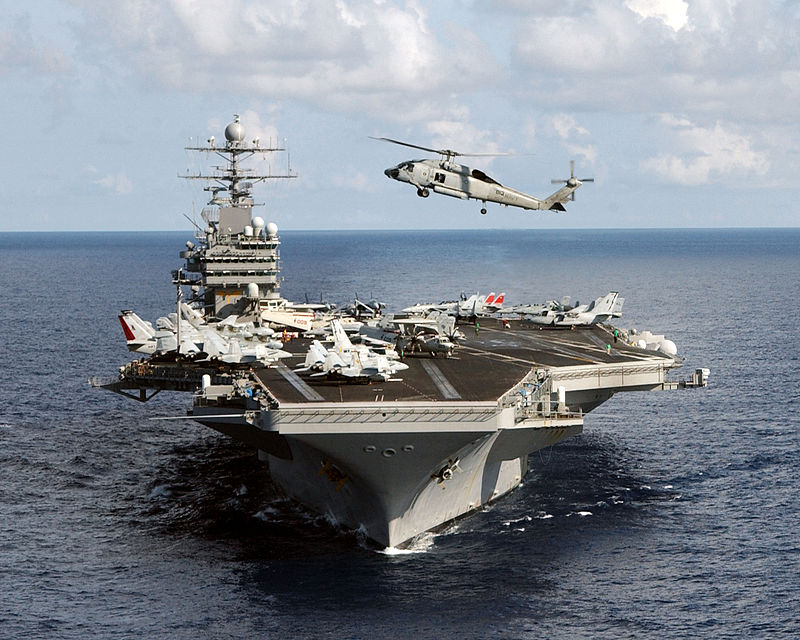 USS Theodore Roosevelt, one of three aircraft carriers taking part in the exercises