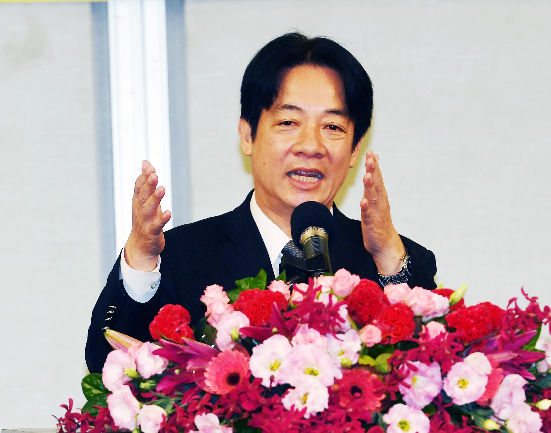 Premier William Lai speaking at a medical convention Saturday.