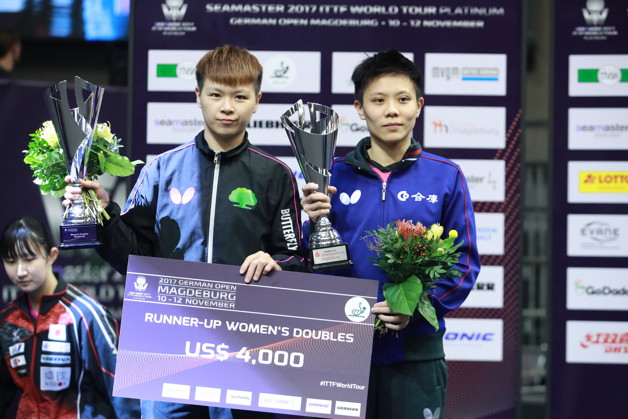 Taiwan's Cheng I-ching (鄭怡靜) and Chen Szu-yu (陳思羽) grabbed a silver in their doubles final match  on Sunday. (Photo from International Table Tennis Fe