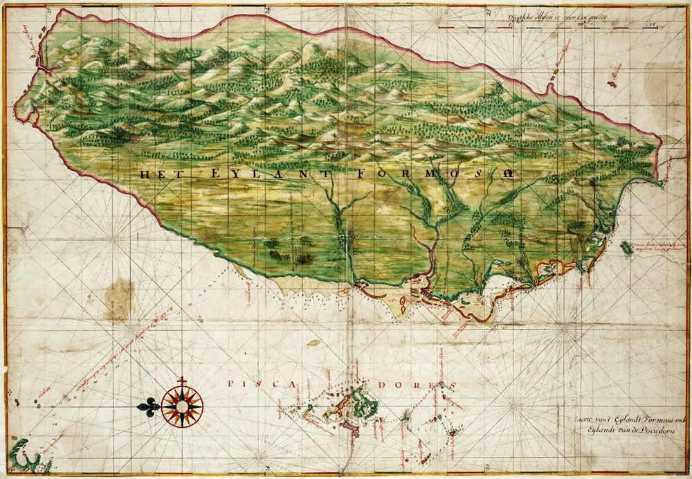 Dutch map of Formosa circa 1640. (Image from colonialvoyage.com)