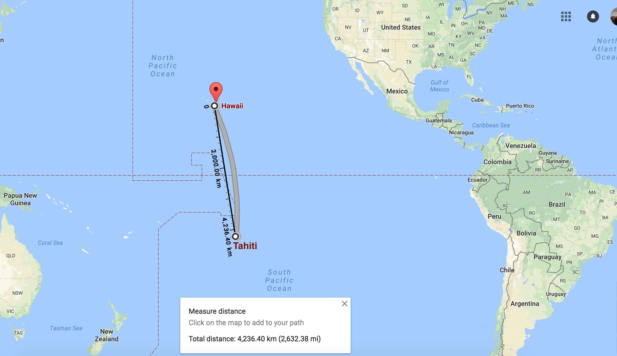 Distance between Hawaii and Tahiti (Screen capture of Google Map)