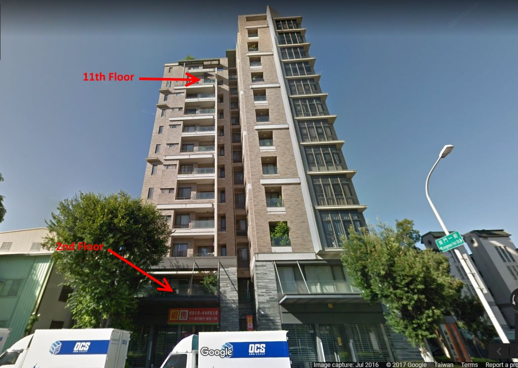 Google Maps image of apartment on Longmen Street in Taichung.
