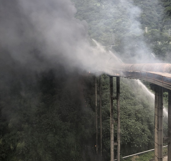 An Asia Cement Corporation pipeline caught fire Saturday morning.