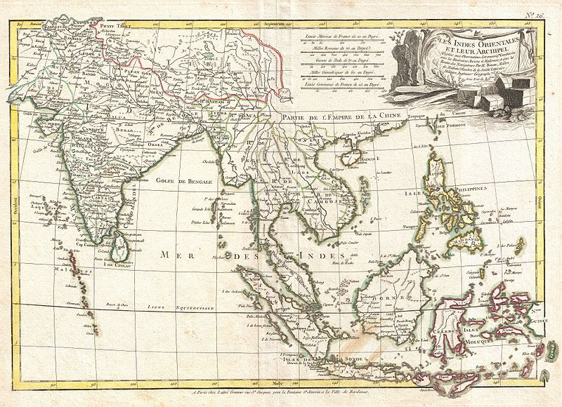 1770 Bonne Map of Southeast Asia and India