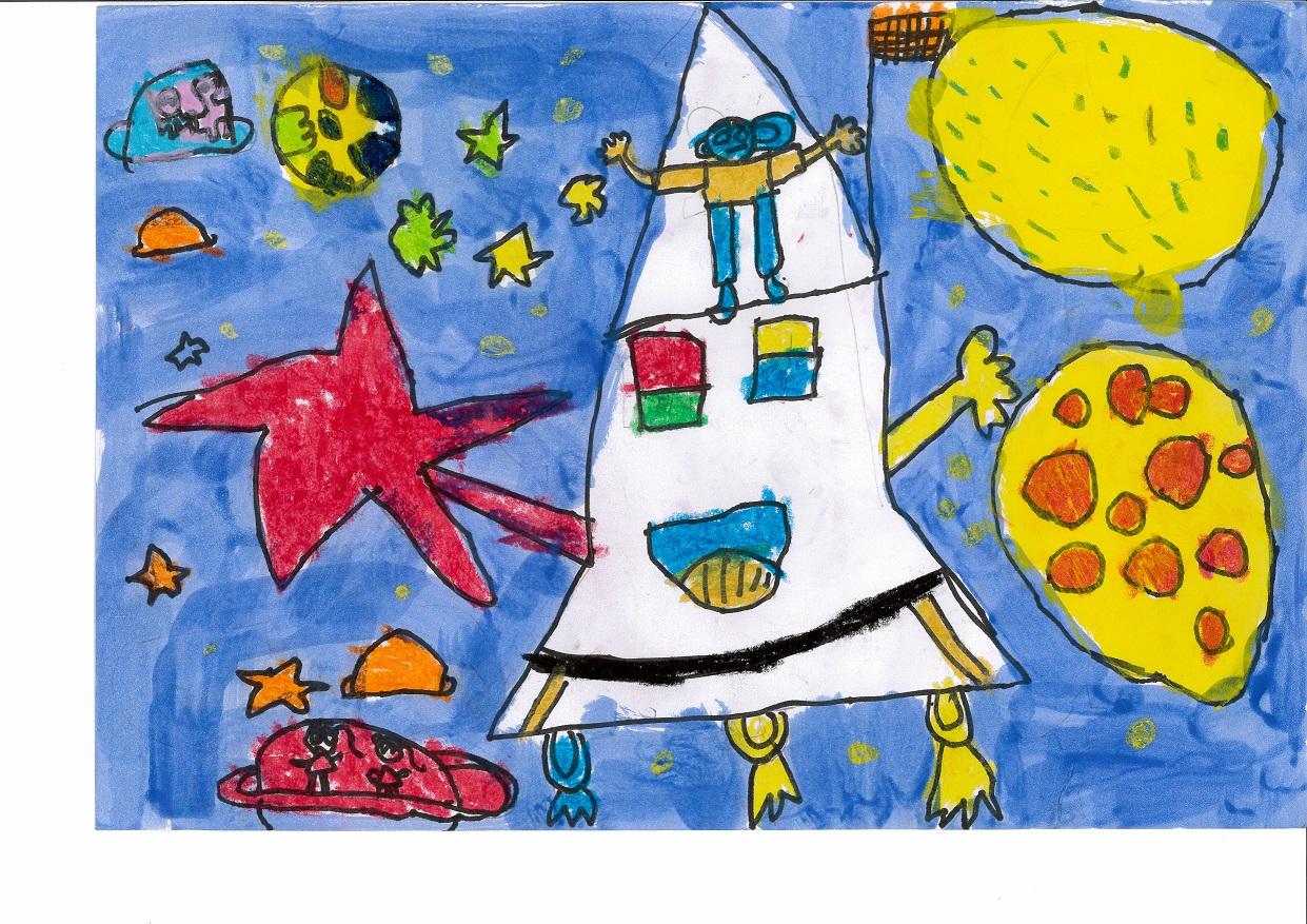 畫作中孩子以星星、飛碟、火箭畫出想像中的太空,象徵未來的我也有夢想,反映出這群弱勢兒童有豐富的想像力。