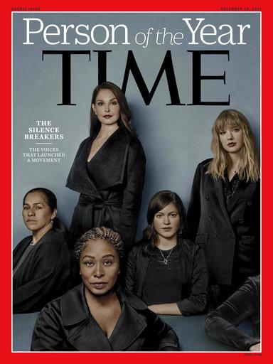《時代》雜誌今(2017)年的封面人物標題為「打破沉默者」,揭露一群勇敢參與#MeToo運動,說出自己曾被性侵或對抗性騷擾經驗的女性。(圖