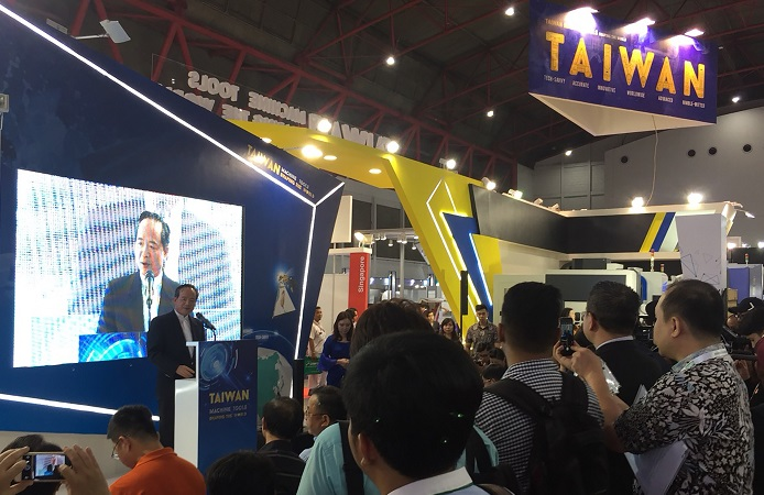 A speaker at the Manufacturing Indonesia 2017 trade show