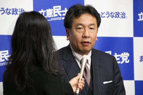 立憲民主黨黨魁枝野幸男接受採訪(圖片來源:立憲民主黨官網)