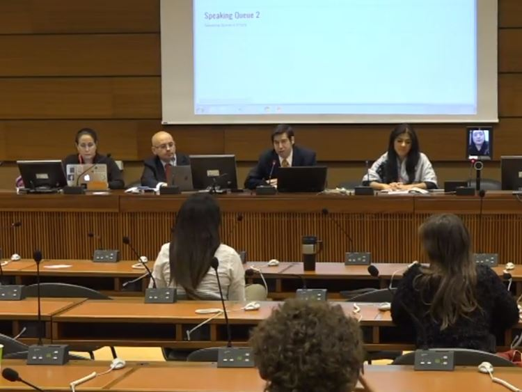 Minister Audrey Tang (on small screen at far right) addresses UN meeting in Geneva.